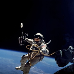 Another image of Edward White during Gemini 4 performing EVA