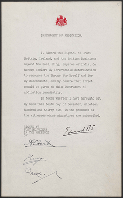 Instrument of abdication signed by Edward VIII and his three brothers, Albert, Henry and George, 10 December 1936
