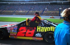 Ernie Irvan entering his car for the first time following injuries at Michigan in 1994.