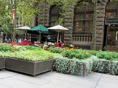 Summer flower stalls in Martin Place, 2012. Flower stalls and pop-up stands have long been a fixture in Martin Place, even in its earliest days.