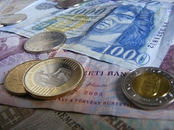 Forint coins and banknotes