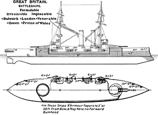 Right elevation and deck plan as depicted in Brassey's Naval Annual 1906