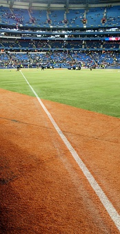 The right field foul line at Rogers Centre