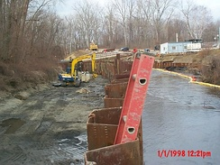 Cleanup activity at one of the GE Pittsfield plant Superfund sites.