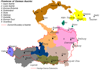 Provinces claimed by German Austria, with the subsequent border of the First Austrian Republic outlined in red.