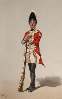 Grenadier of the 40th Regiment of Foot in 1767, armed with a Brown Bess musket