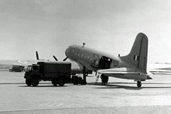 Handley Page Hastings Met Mk.1 of 202 Squadron wearing Coastal Command camouflage at Manchester Airport in 1954