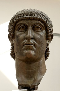Head of Constantine the Great, part of a colossal statue. Bronze, 4th century, Musei Capitolini, Rome.