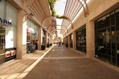 Mamilla Mall adorned with upscale shops stands just outside the Old City Walls.