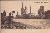 The city of Ypres before (left), and after (right) the Second Battle of Ypres. Bombarded by artillery fire, most of the city was demolished.