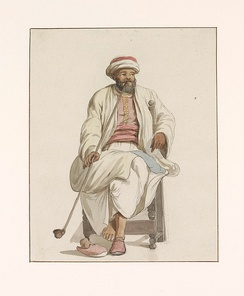 Painting of a Turkish slave kadi in Malta by Abraham-Louis-Rodolphe Ducros, 1778