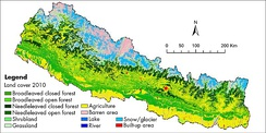 This land cover map of Nepal using Landsat 30 m (2010) data shows forest cover as the dominant type of land cover in Nepal.[90]