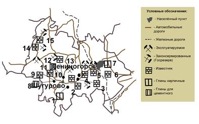 Карта-схема месторождений глины и карбонатных пород