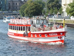 Union Berlin boat on the river Spree