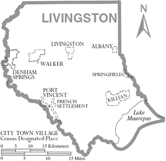 Outline of the Parish with municipal labels