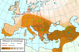 Diffusion of metallurgy in Europe and Asia Minor—the darkest areas are the oldest.