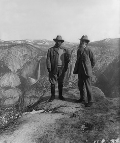 Nature preservationist John Muir with U.S. President Theodore Roosevelt (left) on Glacier Point in Yosemite National Park