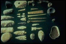 A variety of stone tools