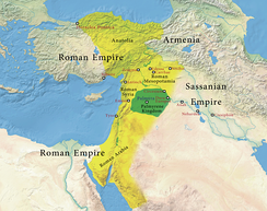 map of western Asia, showing the borders of Palmyra under Odaenathus 263 AD