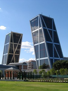 Gate of Europe towers in Madrid, Spain (1989–96)