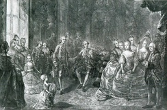 Presentation of Marie Antoinette to Louis Auguste at Versailles, before their marriage. She married at age 15, on 16 May 1770.