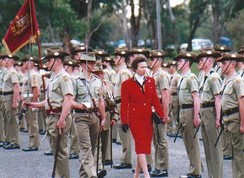 The Princess Royal passes behind the Princess Anne Banner at a parade for the 75th anniversary of the Royal Australian Corps of Signals