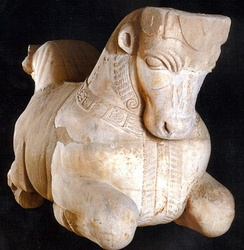 Persian style bull protome found in Sidon gives testimony of the Achaemenid rule and influence. Marble, 5th century BC