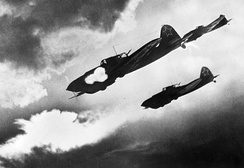 Soviet Il-2 ground attack aircraft attacking German ground forces during the Battle of Kursk, 1943
