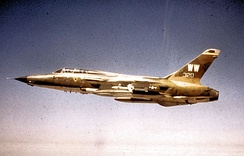 F-105G (S/N 63-8320) of the 561st Tactical Fighter Squadron, 388th Tactical Fighter Wing, over Southeast Asia in the summer of 1972. Aircraft scored three MiG kills in Vietnam