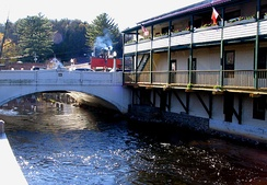 The Saranac River runs through the village.