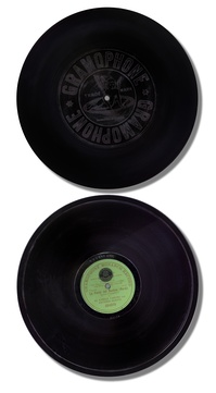 A multinational product: an operatic duet sung by Enrico Caruso and Antonio Scotti, recorded in the US in 1906 by the Victor Talking Machine Company, manufactured c. 1908 in Hanover, Germany, for the Gramophone Company, Victor's affiliate in England