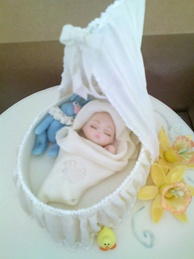 Cake made for a baby shower with edible decorations, an example of edible art