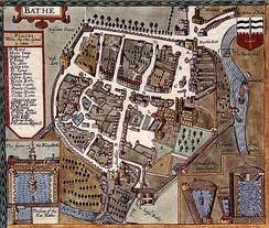 Map of Bath by John Speed published in 1610