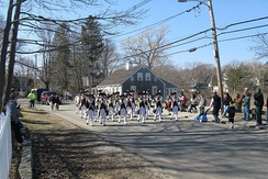 St. Patrick's Day Parade in Scituate, Massachusetts, in Plymouth County, the municipality with the highest percentage identifying Irish ancestry in the United States, at 47.5% in 2010.[22] Irish Americans constitute the largest ethnicity in Greater Boston.