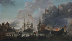 The Dutch raid on the Medway in 1667; the regiment was based nearby at the Chatham naval base.