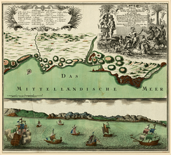 A two-part map showing the port of Oran in the 18th century, by German map publisher Matthäus Seutter.