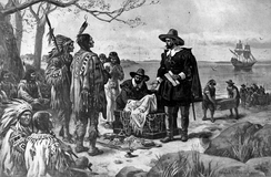 A pen drawing of two men in 16th-century Dutch clothing presenting an open box of items to a group of Native Americans in feather headdresses stereotypical of plains tribes.