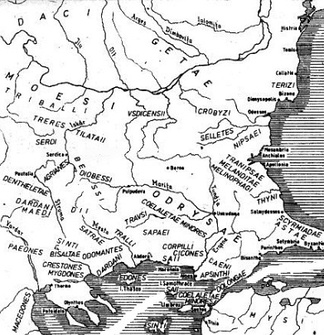 Map 5: Tribes in Thrace before the Roman period. Some of the tribes shown, such as the Serdi were Celts.