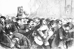 New York police violently attacking unemployed workers in Tompkins Square Park, 1874