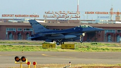 F-16C Block 52Q Fighting Falcon (s/n 93-0535) from the 157th Fighter Squadron, 169th Fighter Wing, South Carolina Air National Guard, lands at the Marrakech, Morocco airport on 23 January 2010.
