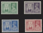 "The stamp series ""Victory"" issued by the Government of British India to commemorate allied victory in World War II."