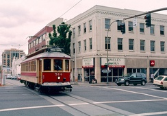 A Vintage Trolley in service on the Portland Streetcar line in 2001, passing Powell's Books.   Operation of these cars on the PS line ended in 2005.