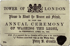 "An 1857 ticket to ""Washing the Lions"" at the Tower of London in London. No such event ever took place."