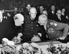 Churchill with American General Dwight D. Eisenhower and Field Marshal Bernard Law Montgomery at a meeting of NATO in October 1951, shortly before Churchill was to become prime minister for a second time.