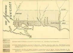 "A 1903 map showing the territorial changes of ""West Florida"""