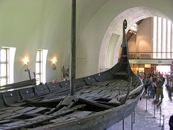 The preserved remains of the Oseberg ship in the Viking Ship Museum in Oslo
