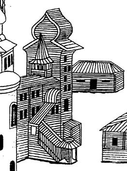 Повалуша хором Строгановых в Сольвычегодске завершена бочкой — формой, связанной с московским зодчеством. 1565 г.