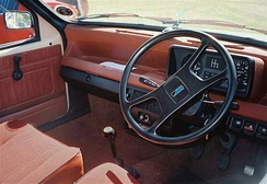 The interior of a 1980 Austin Metro MkI.