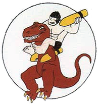 World War II emblem of the 327th Bombardment Squadron, featuring characters (Alley Oop and Dinny) from the Alley Oop comic strip