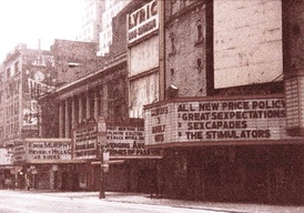 42nd Street in 1985 Times Square, showing the Lyric, one of several grindhouses at the time